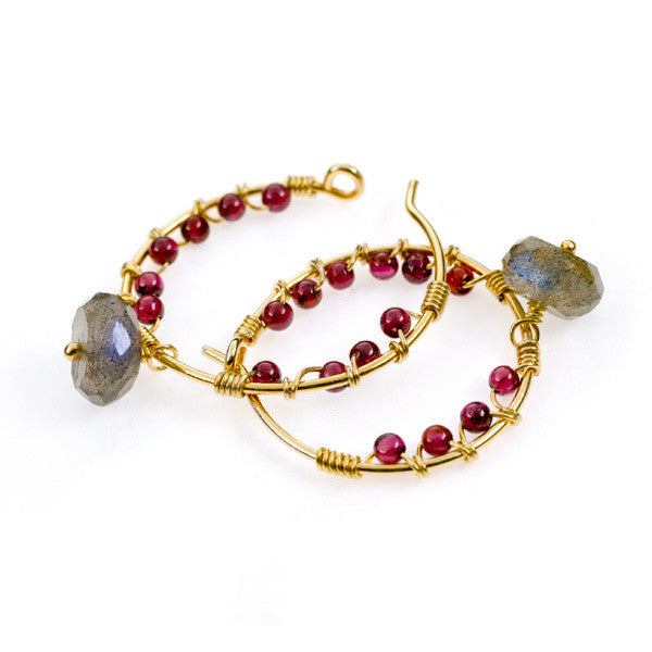 Pomegranate Garnet and Labradorite Gold Vermeil Hoop Earrings