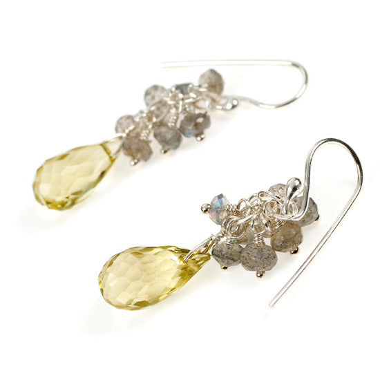 Teardrop Lemon Quartz and Labradorite Cluster Sterling Silver Earrings