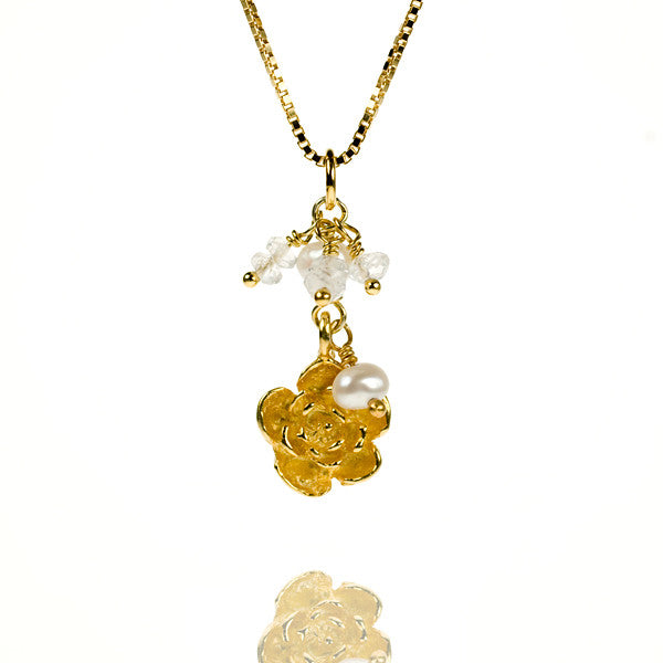 Plum Flower Pearl and Rainbow Moonstone Gold Vermeil Necklace