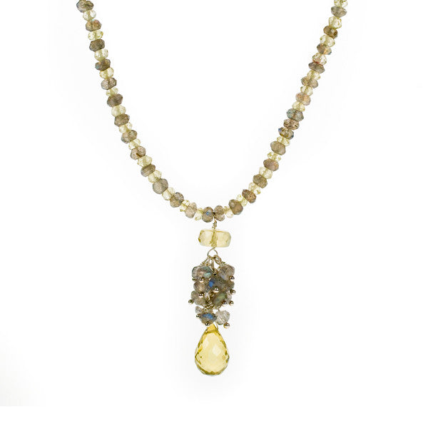 Teardrop Lemon Quartz and Labradorite Cluster Fully Beaded Necklace