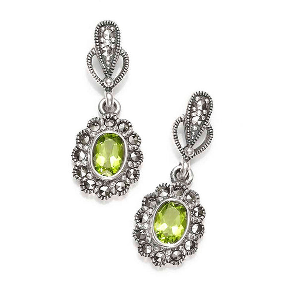 Oval Floral Marcasite and Peridot Sterling Silver Earrings