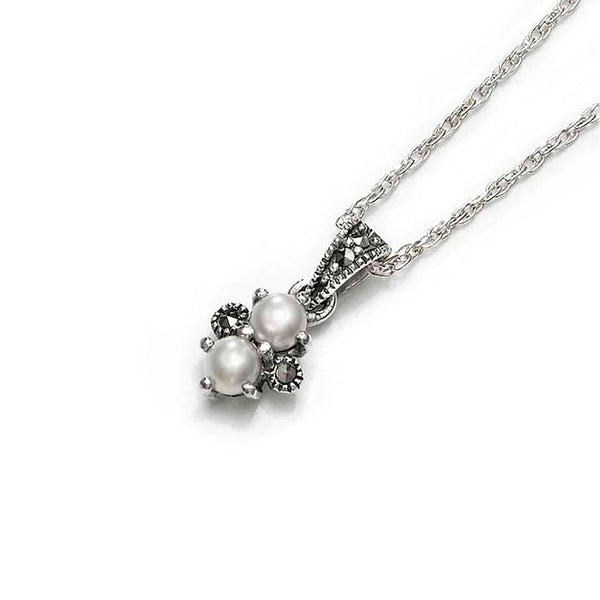 Ivory Pearl Duo Marcasite Sterling Silver Pendant