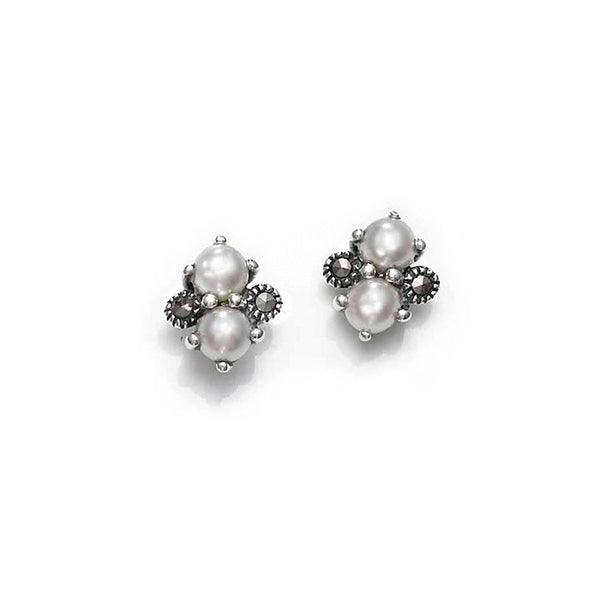 Ivory Pearl Duo Marcasite Sterling Silver Stud Earrings