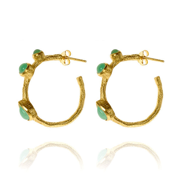 Julep Chrysoprase Gold Vermeil Hoop Earrings