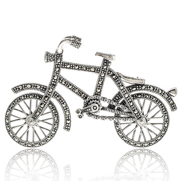Large Marcasite Bicycle Sterling Silver Brooch