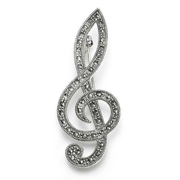 Large Marcasite Treble Clef Sterling Silver Brooch