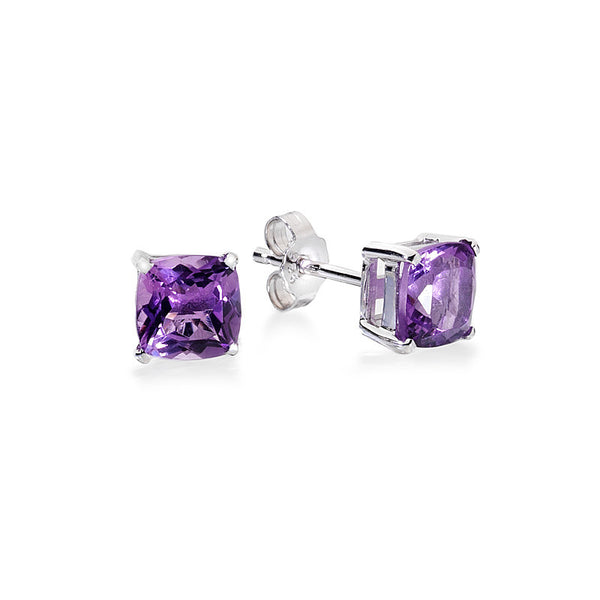 Little Cushion Amethyst Sterling Silver Stud Earrings