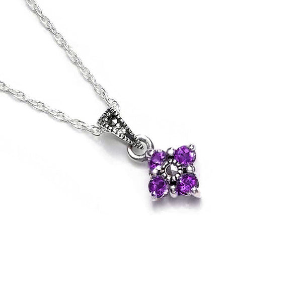 Love Clover Amethyst Marcasite Sterling Silver Pendant
