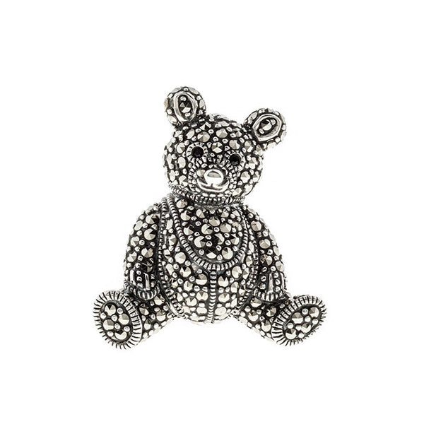 Marcasite Teddy Bear Sterling Silver Brooch