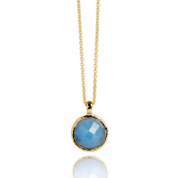 Monaco Blue Jade Hammered Gold Vermeil Necklace