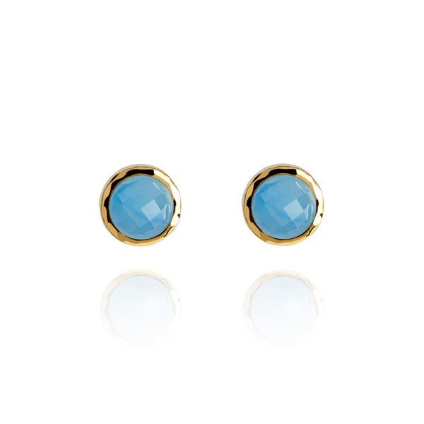 Monaco Blue Jade Hammered Gold Vermeil Stud Earrings