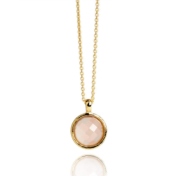 Monaco Rose Quartz Hammered Gold Vermeil Necklace