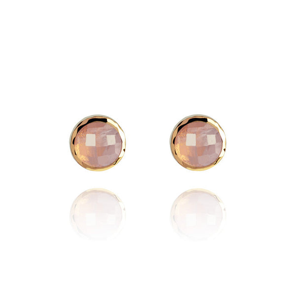 Monaco Rose Quartz Hammered Gold Vermeil Stud Earrings