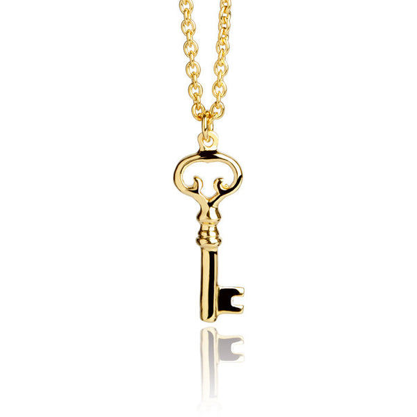 Old Key Talisman Gold Vermeil Charm Necklace