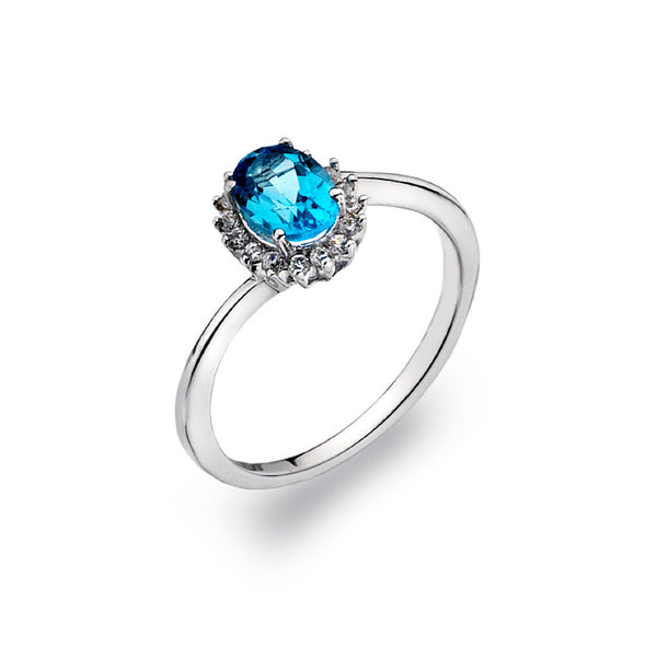 Blue Oceanl Blue Topaz and CZ Sterling Silver Ring