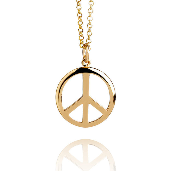 Peace Sign Talisman Gold Vermeil Charm Necklace