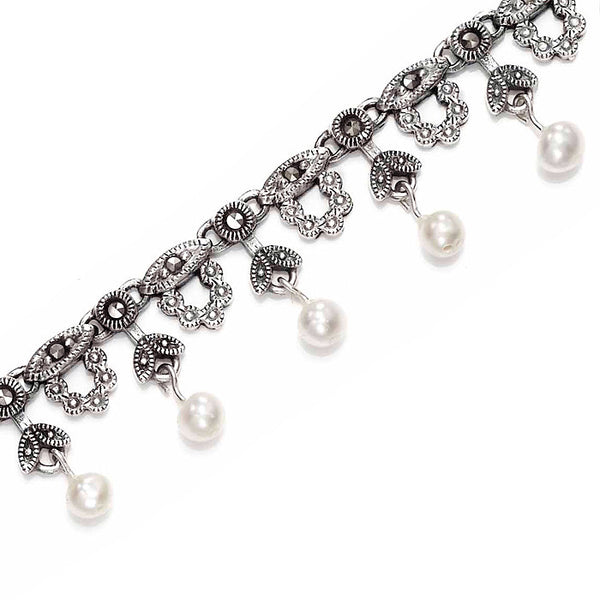 Bella Marcasite and Pearl Sterling Silver Necklace