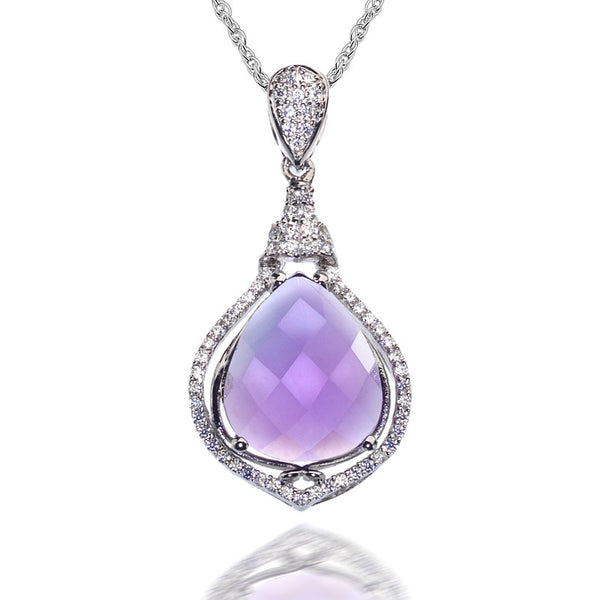 Prosperity Amethyst and CZ Sterling Silver Pendant