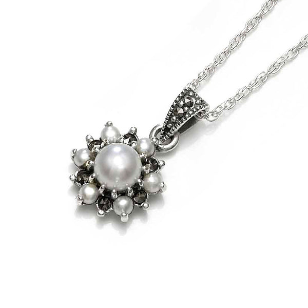 Snowflake White Pearl Marcasite Sterling Silver Pendant