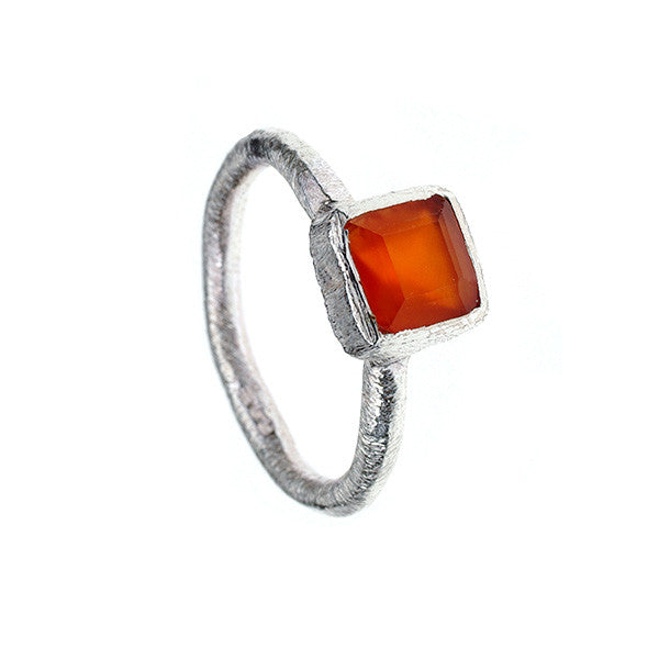 Square Carnelian Hammered Sterling Silver Stacking Ring
