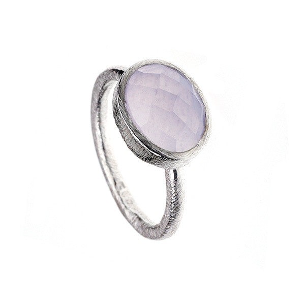 Oval Powder Blue Chalcedony Hammered Sterling Silver Stacking Ring
