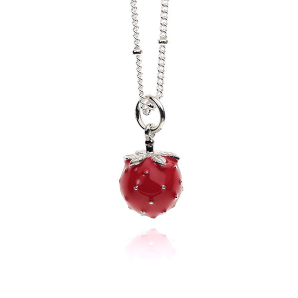 Strawberry Red Enameled Sterling Silver Necklace