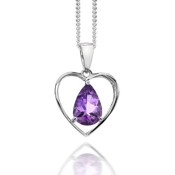 Teardrop Amethyst in Heart Sterling Silver Pendant