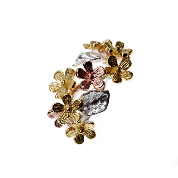 Three Tone Daisy Gold Plated Sterling Silver Ring