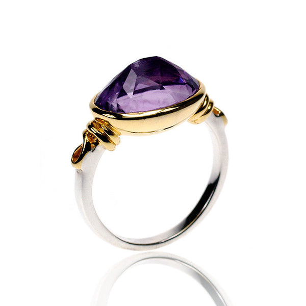Pyramid Amethyst Two Tone Gold Plated Sterling Silver Ring