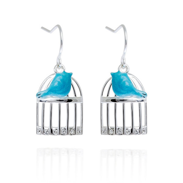 Uncaged Blue Bird Enamel Sterling Silver Drop Earrings