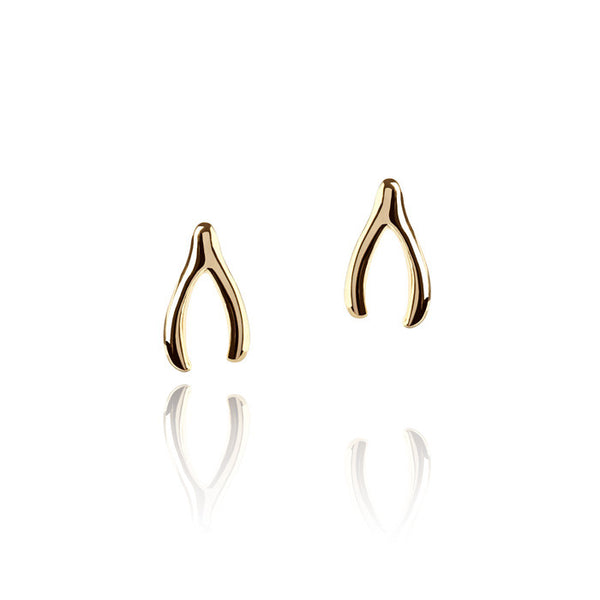 Wishbone Talisman Gold Vermeil Stud Earrings