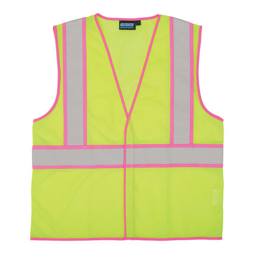 Class 2 Safety Vest w/Pink Contrasting Trim [S730]