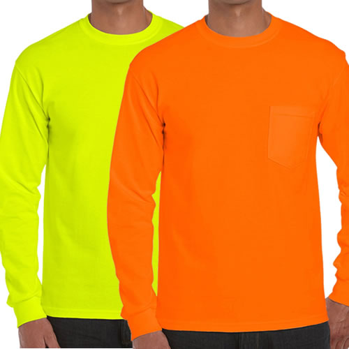 Gildan 2410, High Visibility Pocket Long Sleeve T-Shirt