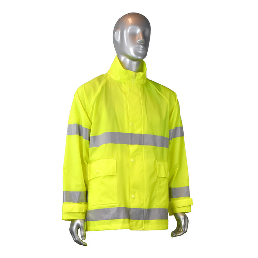 Radians RJ25-3ZGV, Fortress 20 High Visibility Rain Jacket, Front View