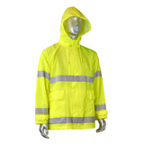 Radians RJ25-3ZGV, Fortress 20 High Visibility Rain Jacket, Front View Hood