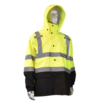 Radians RW30, High Visibility General Purpose Rain Jacket, Front View, Hood Up