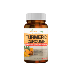 Living Organic Turmeric 1200mg with Black Pepper.  (60-Day Supply) +  Free U.S. shipping.