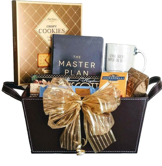 Business and Corporate Gift Baskets - Black Leather Finish Basket with Journal & Mug