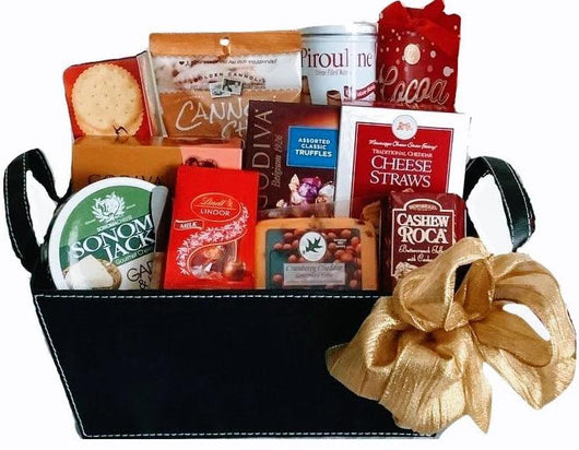 Gourmet Sweet & Savory - Black leather Finish Gifts - Personal & Corporate Holiday Gifts