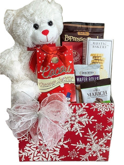 Christmas Holiday Gift Baskets - Sweet Beary Wishes - Snowflake themed gifts