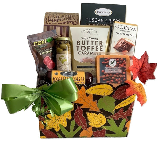 Fall Gift Baskets - Fall leaves Gourmet Gift Box With Sausage - Business & Personal Gifts