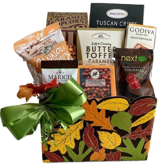 Fall Gift Baskets - Fall leaves Gourmet Gift Box - Business & Personal Gifts