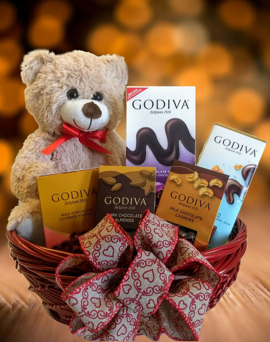Valentines day gifts - Godiva Chocolates & A Sweet Bear in a Red Basket