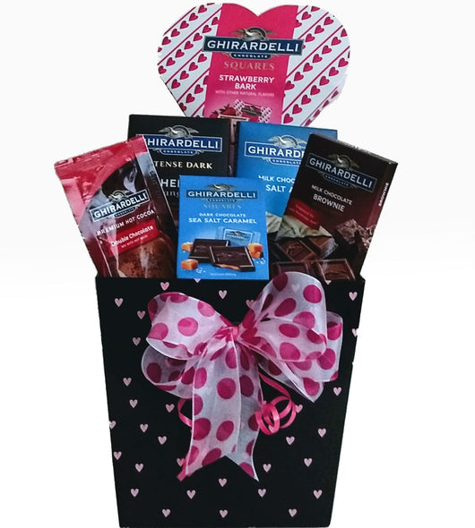 Ghirardelli chocolates gift basket with hearts