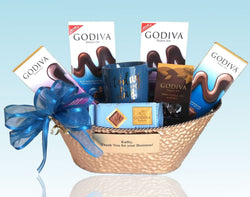 Personalized Corporate Gifts - Majestic Godiva Gift Basket with Mug - Personalize with your own Message!