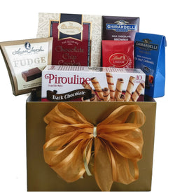 Mother's Day Golden Goodies Gift Basket with Ghirardelli, Cookies, Fudge & more!