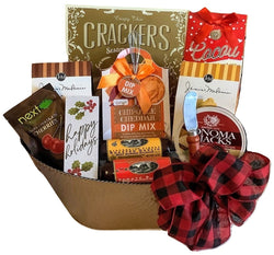 Golden Colored Metal Gift Basket with Sausage Cheese and sweet & savory snacks with red plaid bow. A gift for christmas and holidays