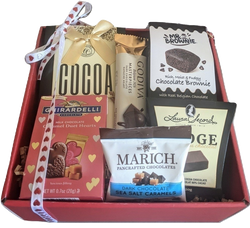 Valentines Day Gift Baskets - Chocolates & Cocoa Red Gift Box with Heart bow