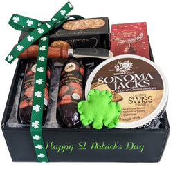 Happy St. Patrick's Day Sausage & Cheese Gift Basket with Shamrock Ribbon, Gift Box for Friends & Family