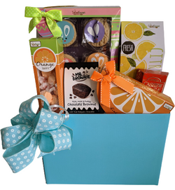 Easter & Spring Gifts - Gift Basket with Cookies, Taffy, Iced Tea - Family Gifts